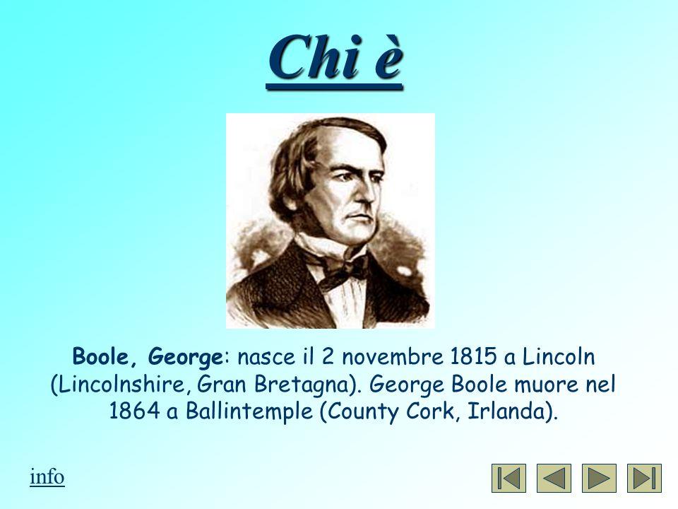 Chi è Boole, George: nasce il 2 novembre 1815 a Lincoln (Lincolnshire, Gran Bretagna). George Boole muore nel 1864 a Ballintemple (County Cork, Irland