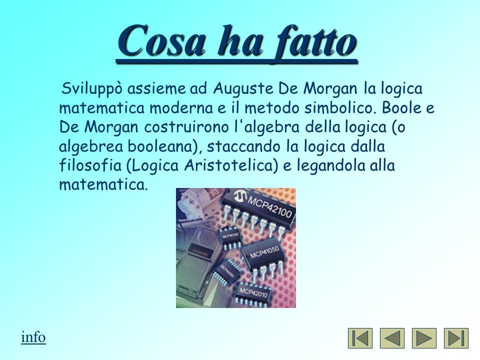 Cosa ha fatto Sviluppò assieme ad Auguste De Morgan la logica matematica moderna e il metodo simbolico. Boole e De Morgan costruirono l'algebra della