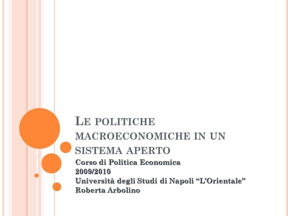L E POLITICHE MACROECONOMICHE IN UN SISTEMA APERTO Corso di Politica Economica 2009/2010 Università degli Studi di Napoli LOrientale Roberta Arbolino