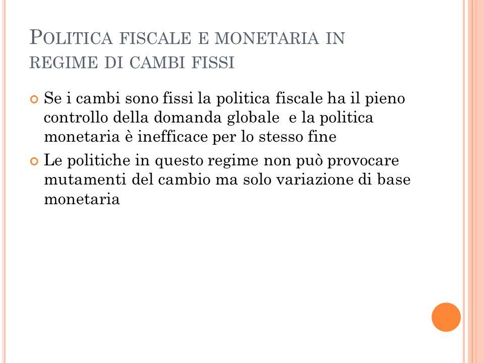 P OLITICA FISCALE E MONETARIA IN REGIME DI CAMBI FISSI Se i cambi sono fissi la politica fiscale ha il pieno controllo della domanda globale e la poli