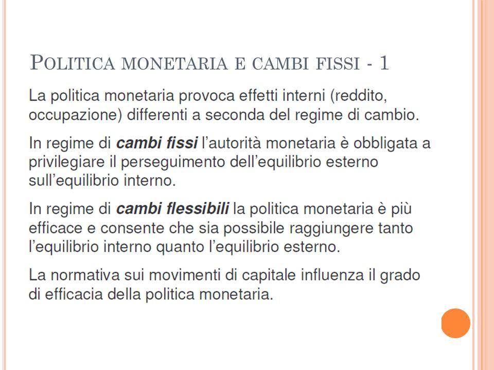 P OLITICA MONETARIA E CAMBI FISSI - 1
