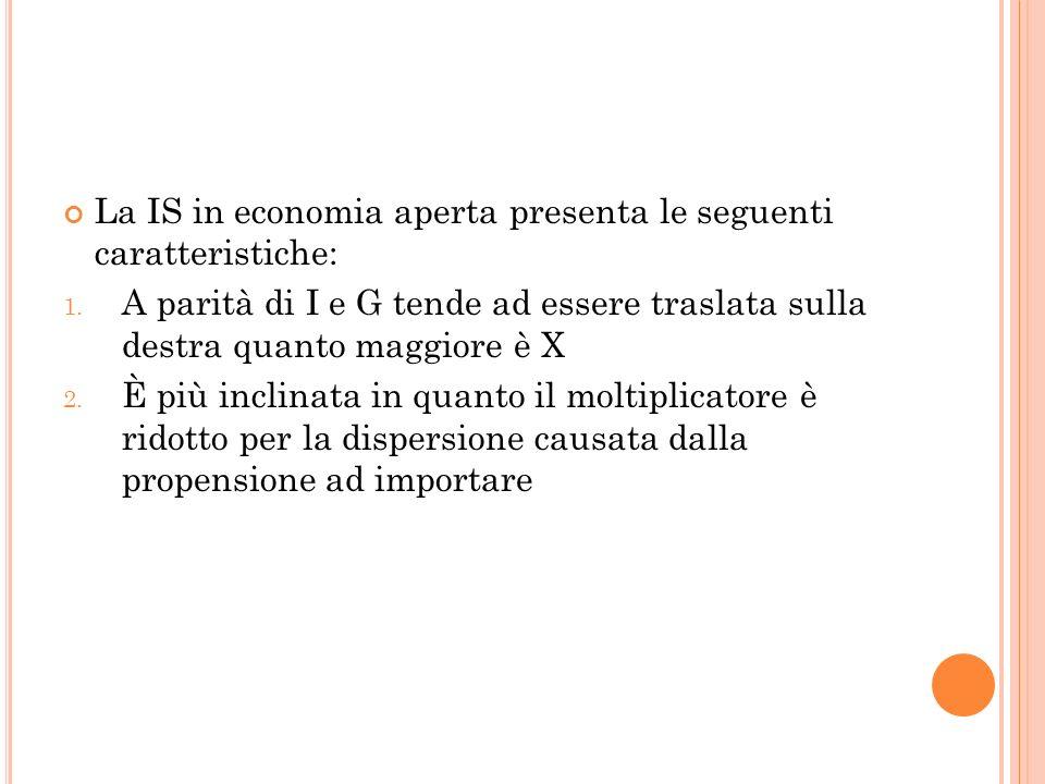 La IS in economia aperta presenta le seguenti caratteristiche: 1. A parità di I e G tende ad essere traslata sulla destra quanto maggiore è X 2. È più