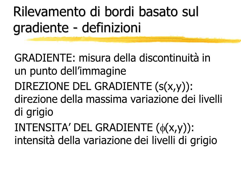 Rilevamento di bordi basato sul gradiente - definizioni GRADIENTE: misura della discontinuità in un punto dellimmagine DIREZIONE DEL GRADIENTE (s(x,y)