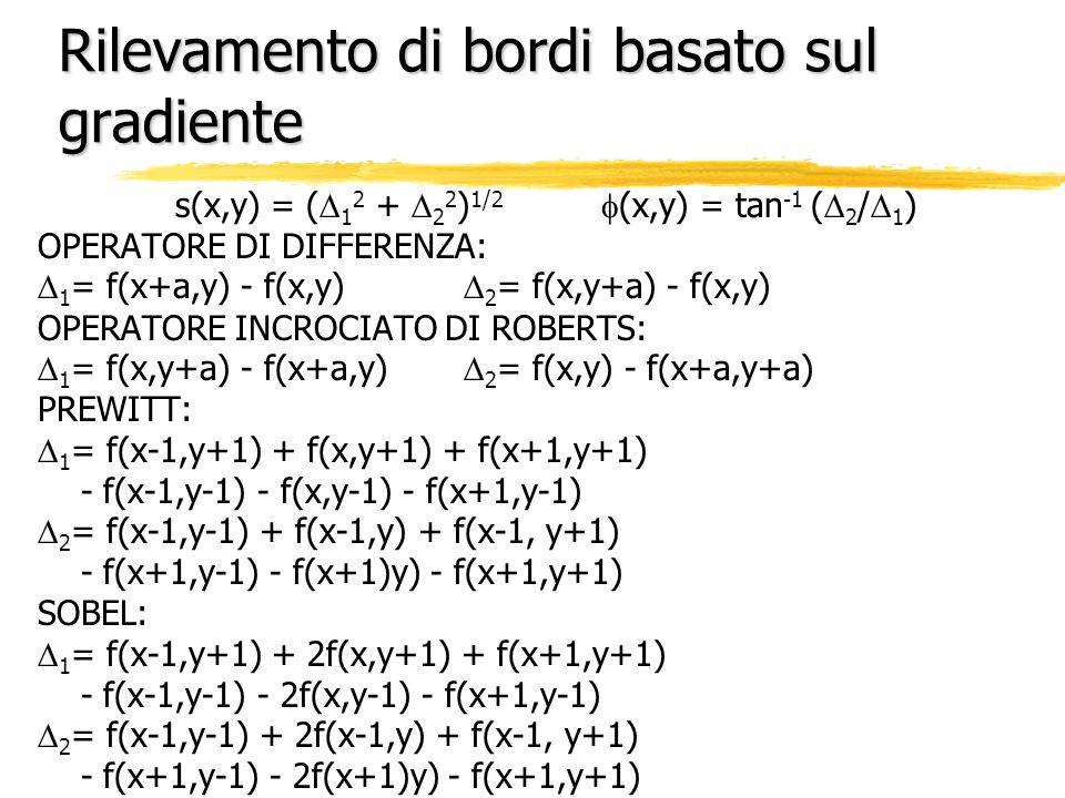 Rilevamento di bordi basato sul gradiente s(x,y) = ( 1 2 + 2 2 ) 1/2 (x,y) = tan -1 ( 2 / 1 ) OPERATORE DI DIFFERENZA: 1 = f(x+a,y) - f(x,y) 2 = f(x,y