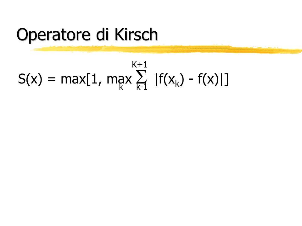 Operatore di Kirsch S(x) = max[1, max |f(x k ) - f(x)|] K+1 k k-1