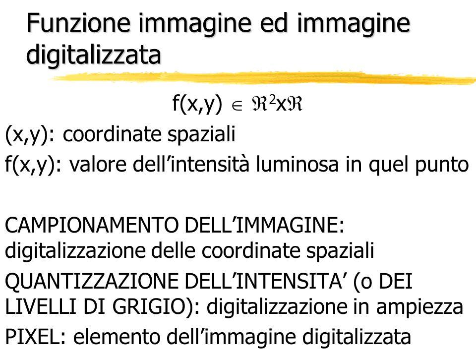 Funzione immagine ed immagine digitalizzata f(x,y) 2 x (x,y): coordinate spaziali f(x,y): valore dellintensità luminosa in quel punto CAMPIONAMENTO DE