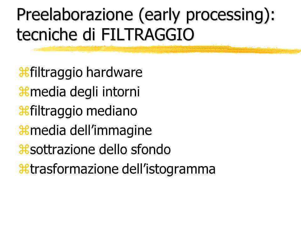 Preelaborazione (early processing): tecniche di FILTRAGGIO zfiltraggio hardware zmedia degli intorni zfiltraggio mediano zmedia dellimmagine zsottrazi