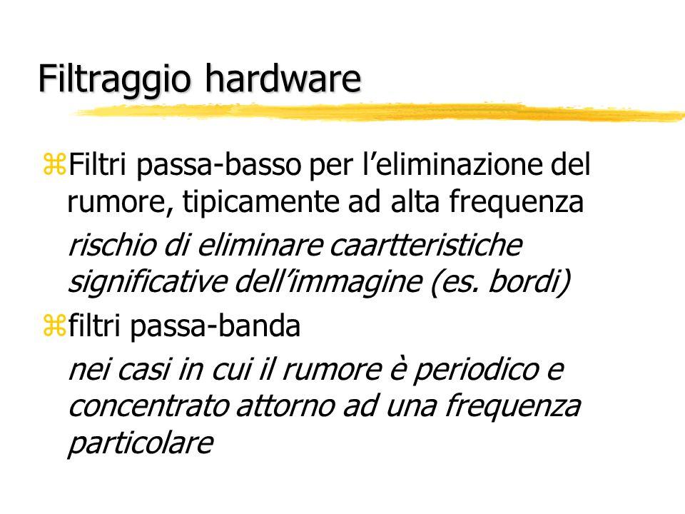 Filtraggio hardware zFiltri passa-basso per leliminazione del rumore, tipicamente ad alta frequenza rischio di eliminare caartteristiche significative