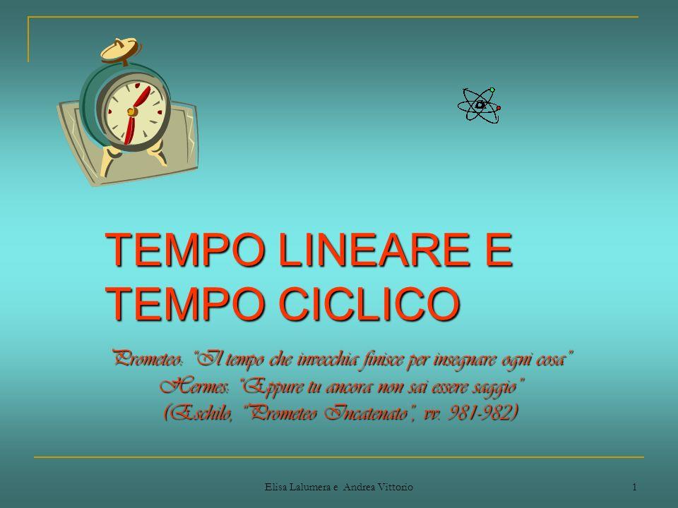 Elisa Lalumera e Andrea Vittorio 1 TEMPO LINEARE E TEMPO CICLICO Prometeo: Il tempo che invecchia finisce per insegnare ogni cosa Hermes: Eppure tu an