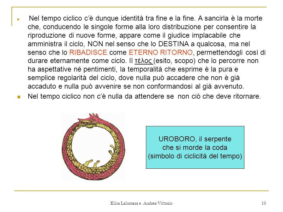 Elisa Lalumera e Andrea Vittorio 10 Nel tempo ciclico cè dunque identità tra fine e la fine. A sancirla è la morte che, conducendo le singole forme al