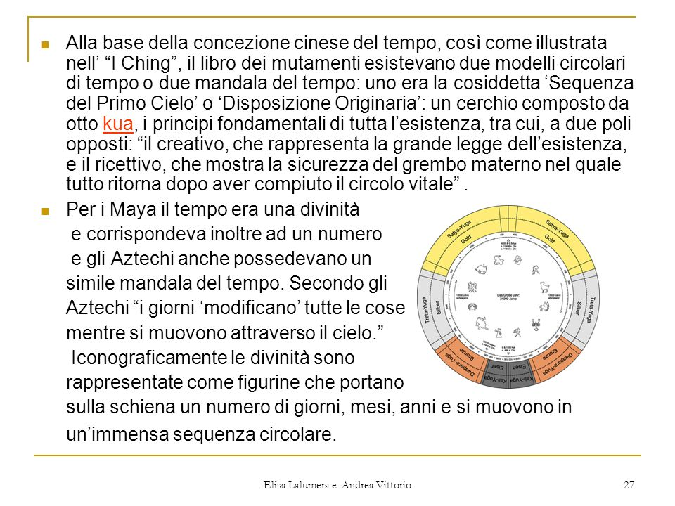 Elisa Lalumera e Andrea Vittorio 27 Alla base della concezione cinese del tempo, così come illustrata nell I Ching, il libro dei mutamenti esistevano
