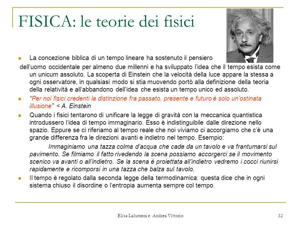 Elisa Lalumera e Andrea Vittorio 32 FISICA: le teorie dei fisici La concezione biblica di un tempo lineare ha sostenuto il pensiero delluomo occidenta