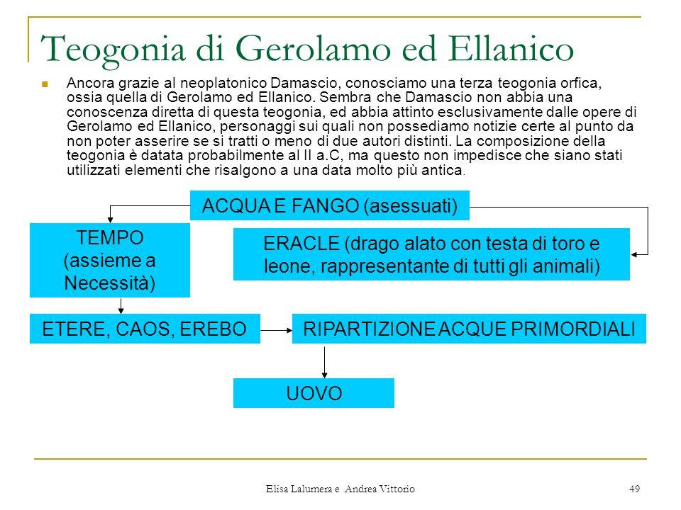 Elisa Lalumera e Andrea Vittorio 49 Teogonia di Gerolamo ed Ellanico Ancora grazie al neoplatonico Damascio, conosciamo una terza teogonia orfica, oss