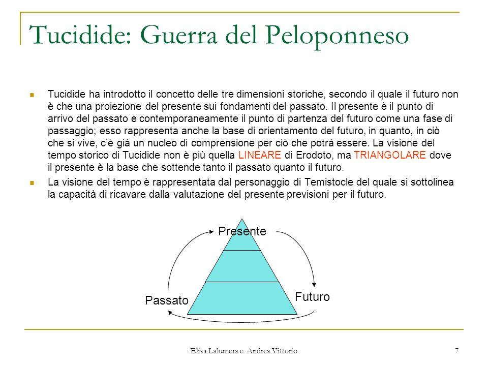 Elisa Lalumera e Andrea Vittorio 7 Tucidide: Guerra del Peloponneso Tucidide ha introdotto il concetto delle tre dimensioni storiche, secondo il quale