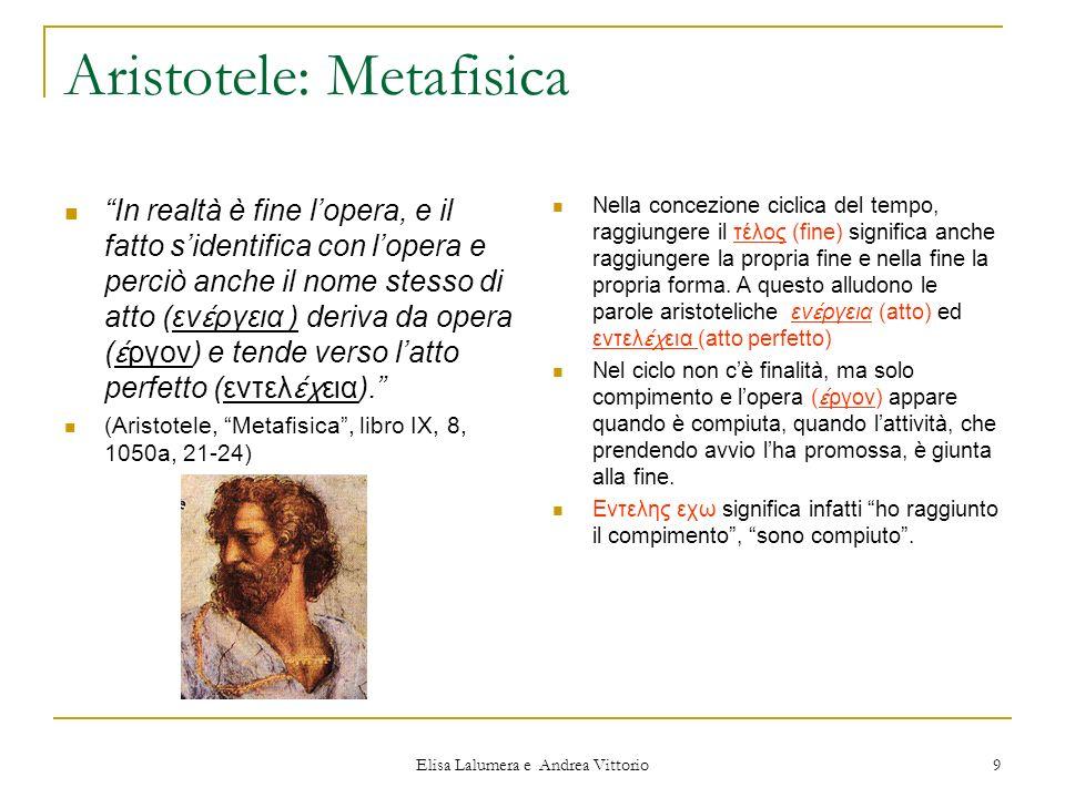 Elisa Lalumera e Andrea Vittorio 9 Aristotele: Metafisica In realtà è fine lopera, e il fatto sidentifica con lopera e perciò anche il nome stesso di