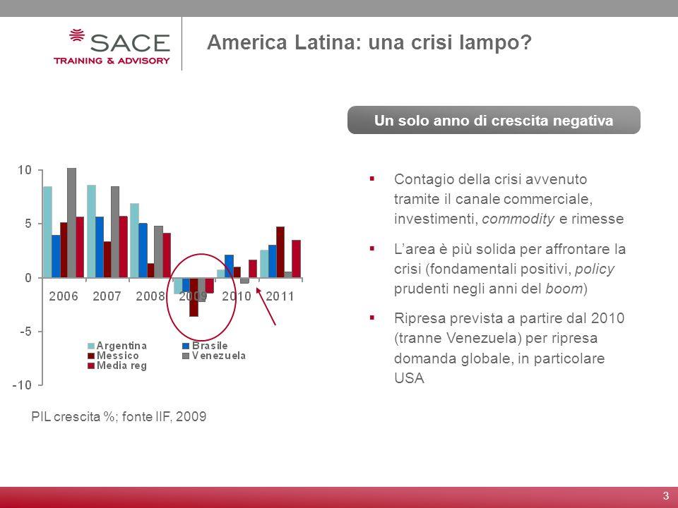 3 America Latina: una crisi lampo? Contagio della crisi avvenuto tramite il canale commerciale, investimenti, commodity e rimesse Larea è più solida p