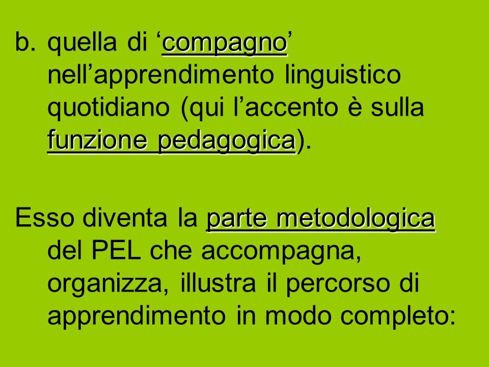 compagno funzione pedagogica b.quella di compagno nellapprendimento linguistico quotidiano (qui laccento è sulla funzione pedagogica).