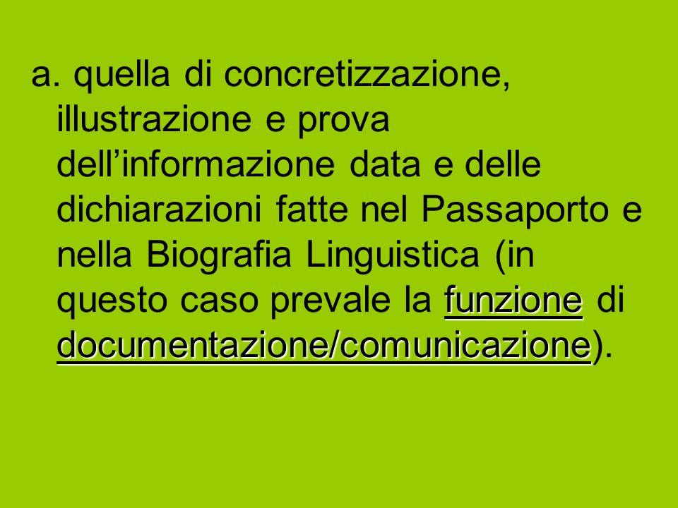 funzione documentazione/comunicazione a. quella di concretizzazione, illustrazione e prova dellinformazione data e delle dichiarazioni fatte nel Passa