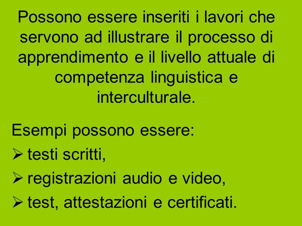 Possono essere inseriti i lavori che servono ad illustrare il processo di apprendimento e il livello attuale di competenza linguistica e intercultural