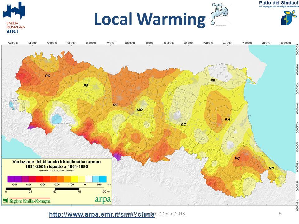 Local Warming http://www.arpa.emr.it/sim/ clima Paesaggio & fragilità - 11 mar 20135