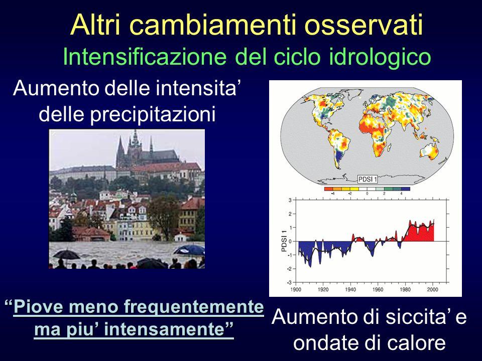 Altri cambiamenti osservati Intensificazione del ciclo idrologico Aumento delle intensita delle precipitazioni Aumento di siccita e ondate di calore P