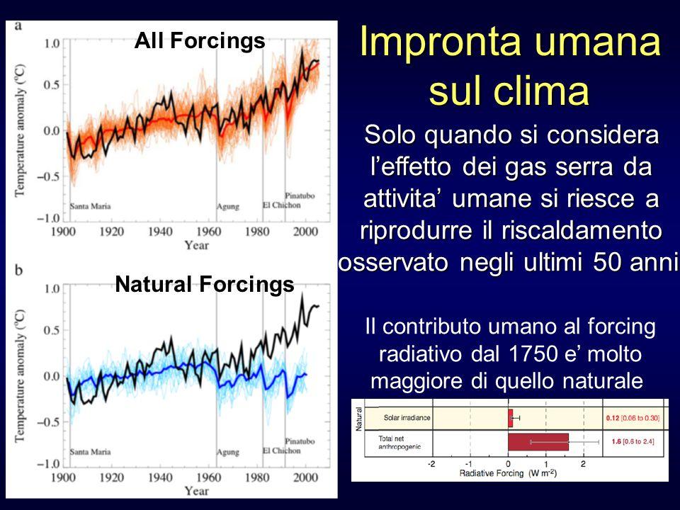 All Forcings Natural Forcings Il contributo umano al forcing radiativo dal 1750 e molto maggiore di quello naturale Solo quando si considera leffetto