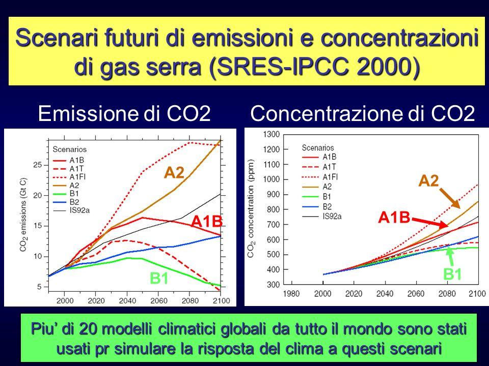 Emissione di CO2Concentrazione di CO2 A2 B1 A1B Scenari futuri di emissioni e concentrazioni di gas serra (SRES-IPCC 2000) Piu di 20 modelli climatici
