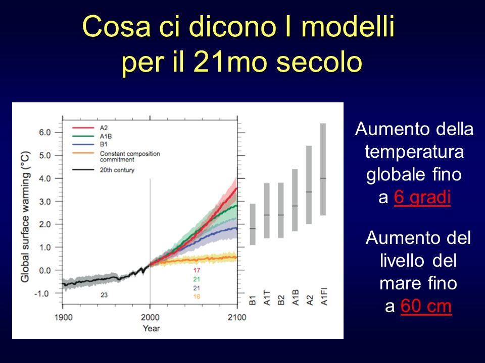 Cosa ci dicono I modelli per il 21mo secolo Aumento della temperatura globale fino a 6 gradi Aumento del livello del mare fino a 60 cm