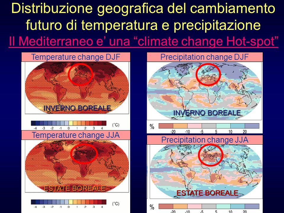 Distribuzione geografica del cambiamento futuro di temperatura e precipitazione Il Mediterraneo e una climate change Hot-spot ESTATE BOREALE INVERNO B