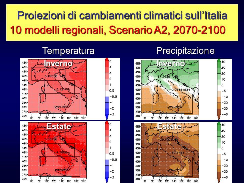 TemperaturaPrecipitazione Inverno Estate Inverno Estate Proiezioni di cambiamenti climatici sullItalia 10 modelli regionali, Scenario A2, 2070-2100