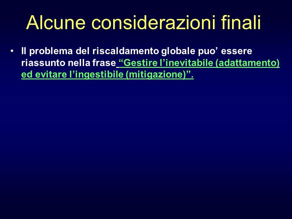 Alcune considerazioni finali Il problema del riscaldamento globale puo essere riassunto nella frase Gestire linevitabile (adattamento) ed evitare ling