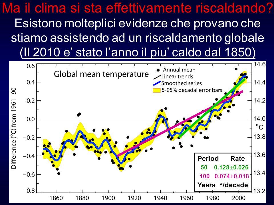 100 0.074 0.018 50 0.128 0.026 Period Rate Years /decade Ma il clima si sta effettivamente riscaldando? Esistono molteplici evidenze che provano che s