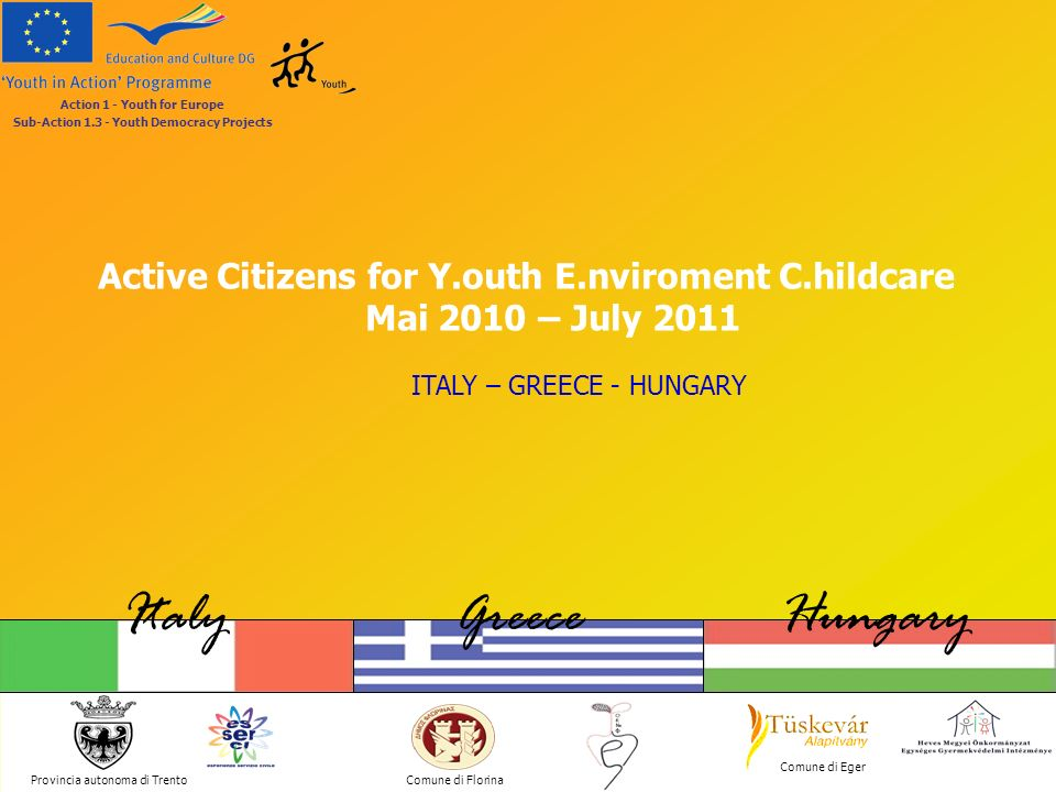 Active Citizens for Y.outh E.nviroment C.hildcare Provincia autonoma di Trento ItalyGreeceHungary Comune di Florina Comune di Eger Action 1 - Youth for Europe Sub-Action 1.3 - Youth Democracy Projects 1.EU Democracy and Active Citizenship 2.Young People Participation 3.Cultural Diversity 4.Equal Opportunities between Men and Women 5.Antidiscrimination (based on race, ethnic origins, religion, age, disability, sexual orientation,..) 6.Environmental Challenges 7.Fight for/against Poverty and Social Inclusion 8.Peace and Humanitarian Aid 9.Development and Debt Relief (UN Millennium Development Goals) THE THEMATIC AREAS Focus Themes Civil Duty Service (Italian group) Preserving the Eco-system (Greek group) Children Rights (Hungarian group)