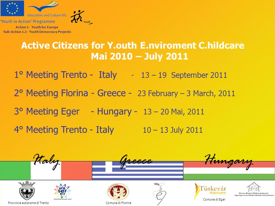 Active Citizens for Y.outh E.nviroment C.hildcare Provincia autonoma di Trento ItalyGreeceHungary Comune di Florina Comune di Eger Action 1 - Youth for Europe Sub-Action 1.3 - Youth Democracy Projects Action 1 Youth for Europe Action 2 European Voluntary Service European Voluntary Service Action 3 Youth in the World Youth in the World Action 4 Youth Support Systems Action 5 Support for European Co-operation in the Youth field Youth in Action programme 2007 - 2013