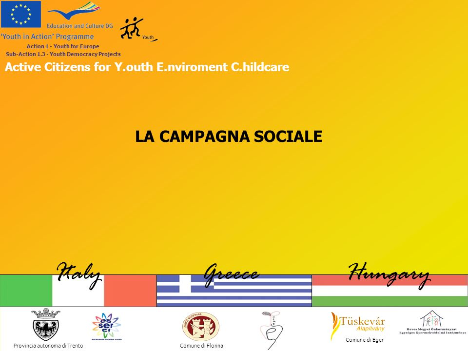 Provincia autonoma di Trento ItalyGreeceHungary Comune di Florina Comune di Eger Action 1 - Youth for Europe Sub-Action 1.3 - Youth Democracy Projects