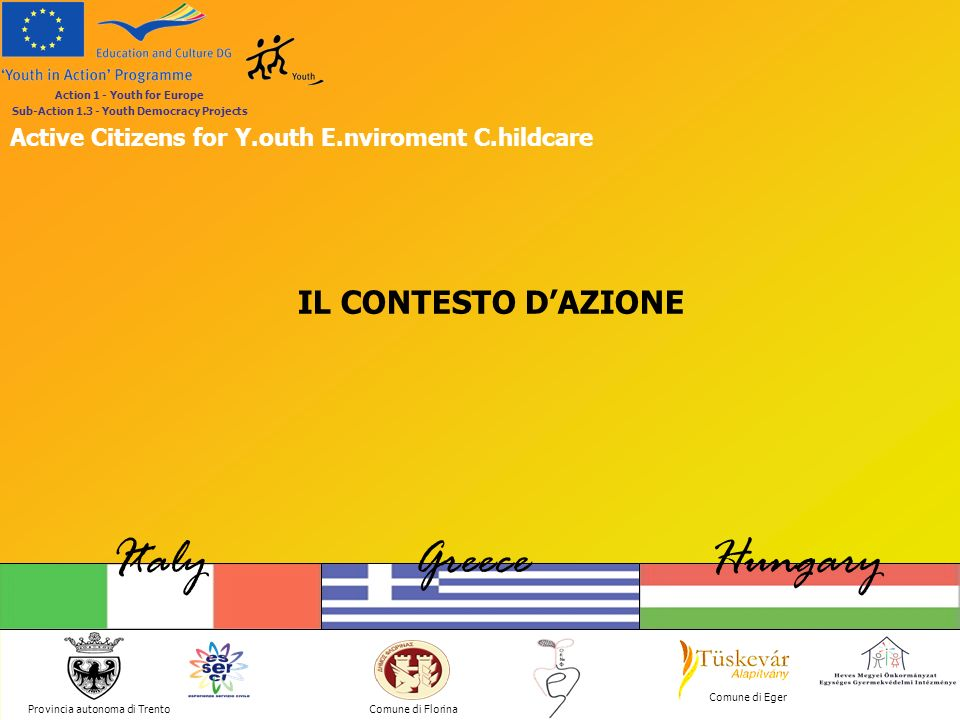 Provincia autonoma di Trento ItalyGreeceHungary Comune di Florina Comune di Eger Action 1 - Youth for Europe Sub-Action 1.3 - Youth Democracy Projects Active Citizens for Y.outh E.nviroment C.hildcare LA CAMPAGNA SOCIALE