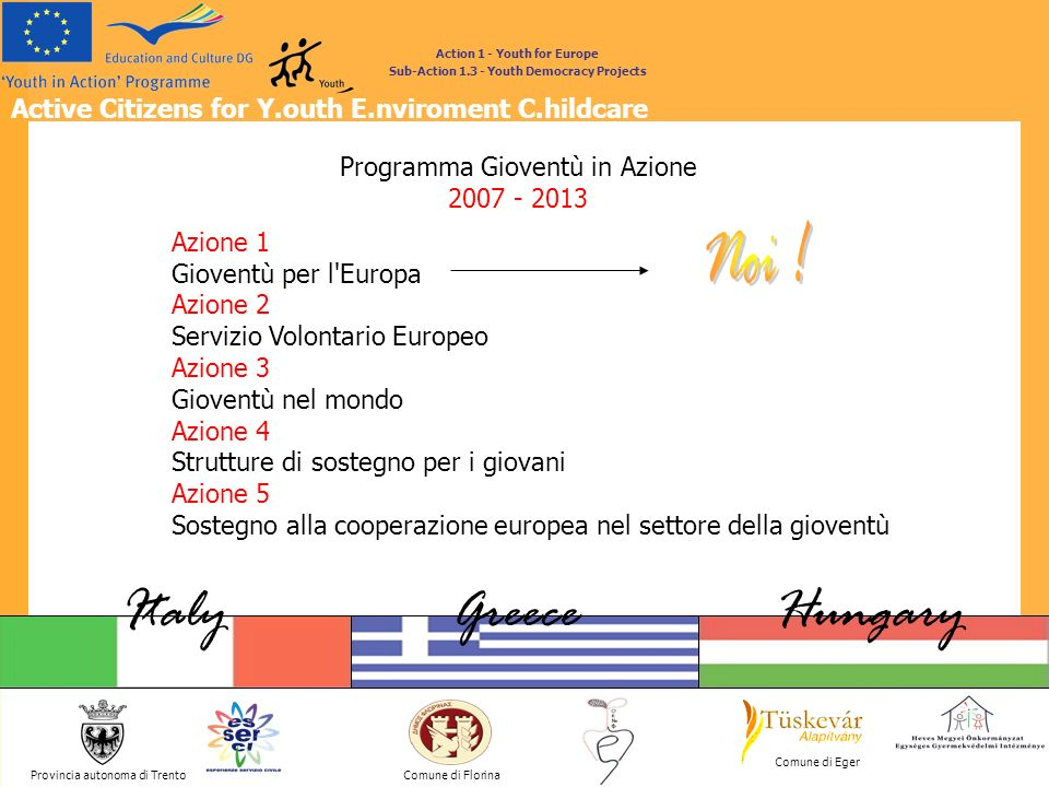 Active Citizens for Y.outh E.nviroment C.hildcare Provincia autonoma di Trento ItalyGreeceHungary Comune di Florina Comune di Eger Action 1 - Youth for Europe Sub-Action 1.3 - Youth Democracy Projects YOUNG PLAYERS