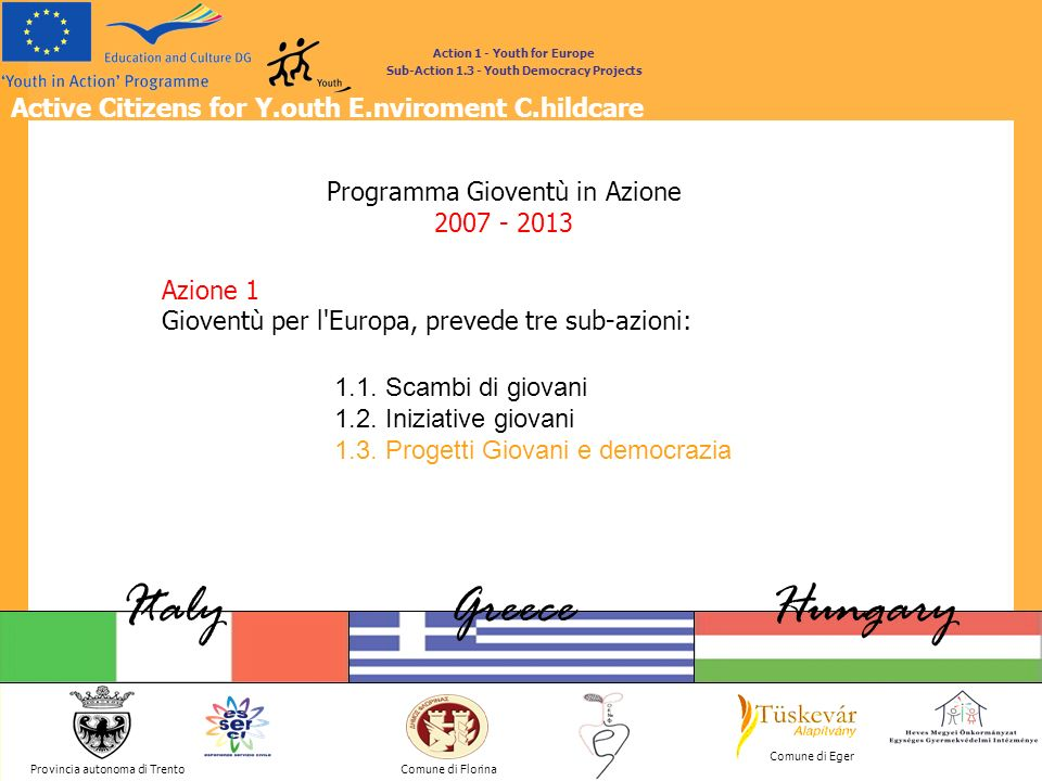 Active Citizens for Y.outh E.nviroment C.hildcare Provincia autonoma di Trento ItalyGreeceHungary Comune di Florina Comune di Eger Action 1 - Youth for Europe Sub-Action 1.3 - Youth Democracy Projects 1.3.
