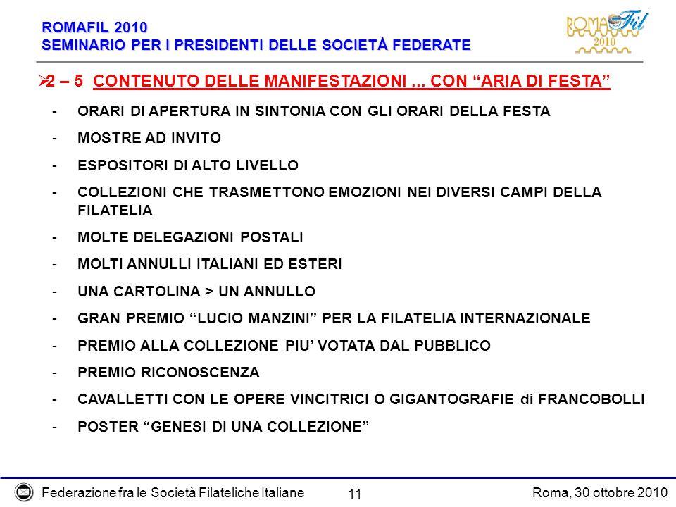 Federazione fra le Società Filateliche ItalianeRoma, 30 ottobre 2010 ROMAFIL 2010 SEMINARIO PER I PRESIDENTI DELLE SOCIETÀ FEDERATE 11 2 – 5 CONTENUTO