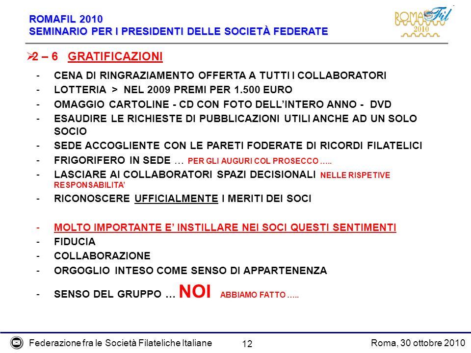 Federazione fra le Società Filateliche ItalianeRoma, 30 ottobre 2010 ROMAFIL 2010 SEMINARIO PER I PRESIDENTI DELLE SOCIETÀ FEDERATE 12 2 – 6 GRATIFICA