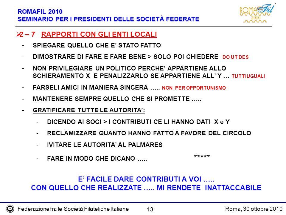 Federazione fra le Società Filateliche ItalianeRoma, 30 ottobre 2010 ROMAFIL 2010 SEMINARIO PER I PRESIDENTI DELLE SOCIETÀ FEDERATE 13 2 – 7 RAPPORTI