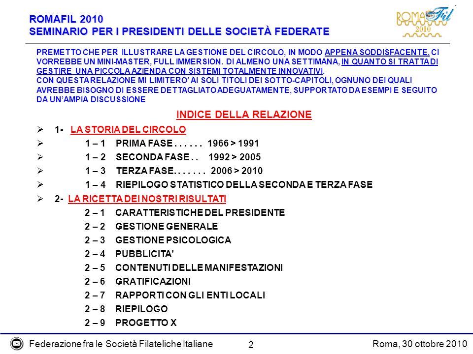 Federazione fra le Società Filateliche ItalianeRoma, 30 ottobre 2010 ROMAFIL 2010 SEMINARIO PER I PRESIDENTI DELLE SOCIETÀ FEDERATE 2 PREMETTO CHE PER