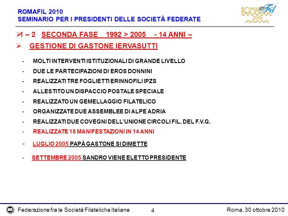 Federazione fra le Società Filateliche ItalianeRoma, 30 ottobre 2010 ROMAFIL 2010 SEMINARIO PER I PRESIDENTI DELLE SOCIETÀ FEDERATE 4 - LUGLIO 2005 PA