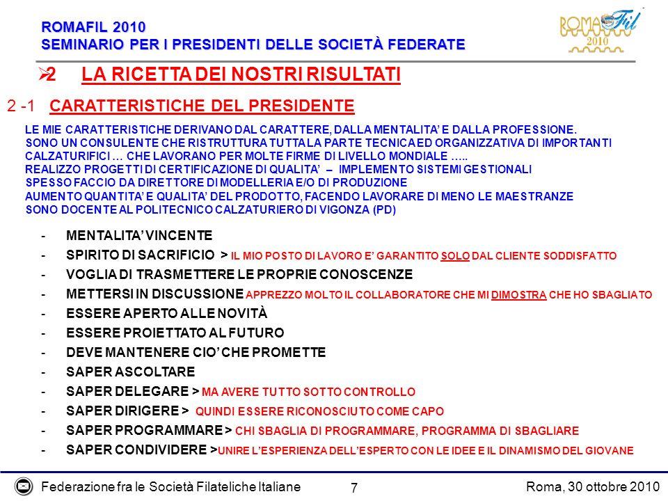 Federazione fra le Società Filateliche ItalianeRoma, 30 ottobre 2010 ROMAFIL 2010 SEMINARIO PER I PRESIDENTI DELLE SOCIETÀ FEDERATE 7 2 -1 CARATTERIST
