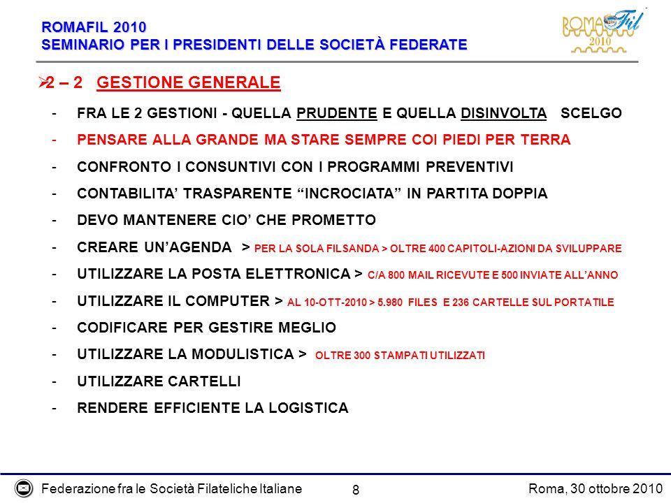 Federazione fra le Società Filateliche ItalianeRoma, 30 ottobre 2010 ROMAFIL 2010 SEMINARIO PER I PRESIDENTI DELLE SOCIETÀ FEDERATE 8 2 – 2 GESTIONE G