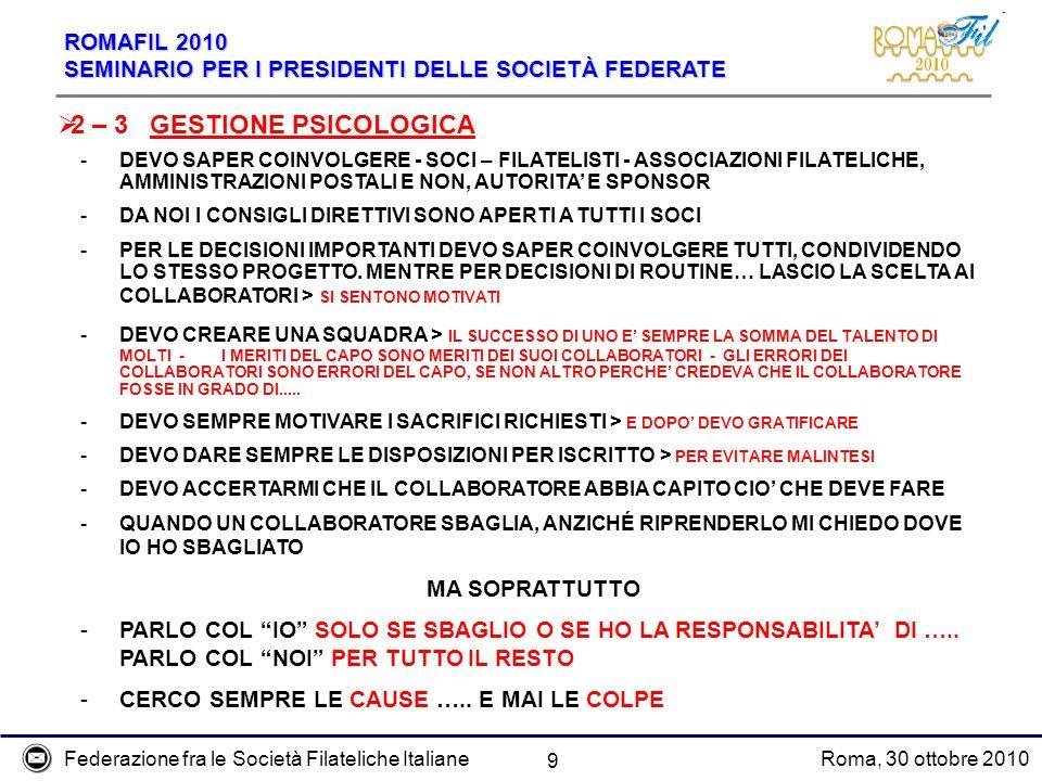 Federazione fra le Società Filateliche ItalianeRoma, 30 ottobre 2010 ROMAFIL 2010 SEMINARIO PER I PRESIDENTI DELLE SOCIETÀ FEDERATE 9 2 – 3 GESTIONE P
