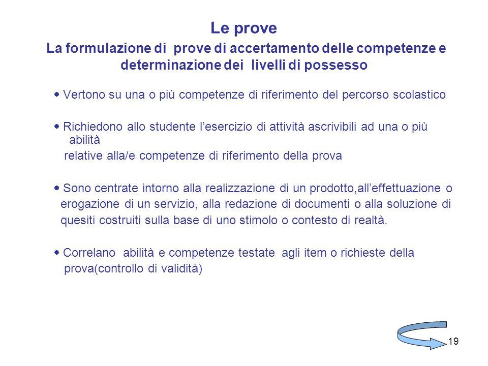 19 Le prove La formulazione di prove di accertamento delle competenze e determinazione dei livelli di possesso Vertono su una o più competenze di rife