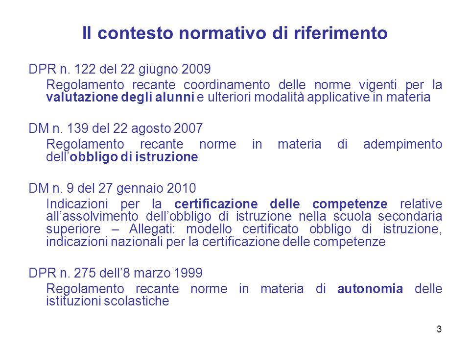3 Il contesto normativo di riferimento DPR n. 122 del 22 giugno 2009 Regolamento recante coordinamento delle norme vigenti per la valutazione degli al