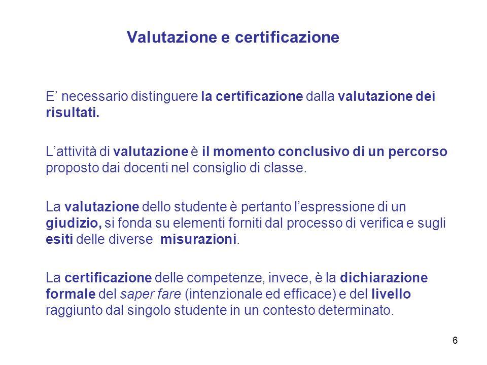 6 Valutazione e certificazione E necessario distinguere la certificazione dalla valutazione dei risultati. Lattività di valutazione è il momento concl