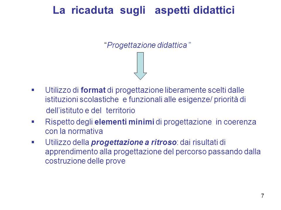 7 La ricaduta sugli aspetti didattici Progettazione didattica Utilizzo di format di progettazione liberamente scelti dalle istituzioni scolastiche e f
